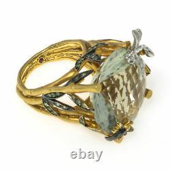 Roberto Coin Garden Wing 18k Yellow Gold Diamond & Green Amethyst Ring Sz 6.5