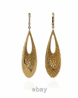 Roberto Coin Golden Gate 18k Yellow Gold Diamond 0.1ct Earrings 7771174AJERD