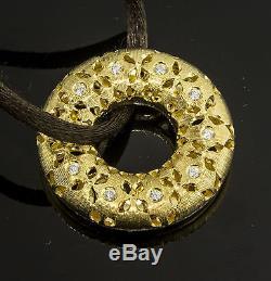 Roberto Coin Granada 18k Gold and Diamond Hoop Pendant