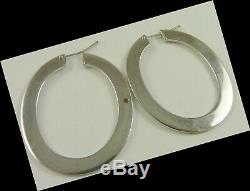 Roberto Coin Hoop Earrings 18k White Gold 1.75 Long Flat Awesome