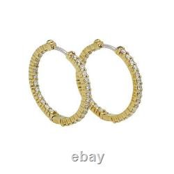 Roberto Coin Inside Out Perfect Diamond Hoop Earrings in 18k Yellow Gold 1.53 ct