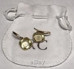 Roberto Coin Ipanema 18K Yellow Gold Square Lemon Quartz Drop Earrings NEW
