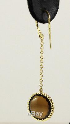 Roberto Coin Ipanema 18k Yellow Gold Smokey Quartz Drop Dangle Hook Earrings