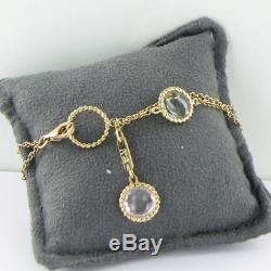 Roberto Coin Ipanema Double Row Bracelet 18k Gold Semi-Precious Stones New $1660