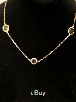 Roberto Coin Ipanema Necklace Five Station Gemstone 18K New Gold $2500 Sale