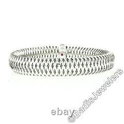 Roberto Coin Italian 18k White Gold Diamond Primavera Woven Flex Bangle Bracelet