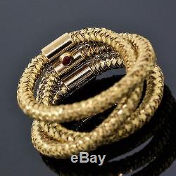 Roberto Coin Italy 18K Yellow Gold Woven Three Rope Twist Band Ring Size 6