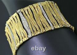 Roberto Coin Italy 18K Yellow & White Gold Diamond Elephant Skin Link Bracelet