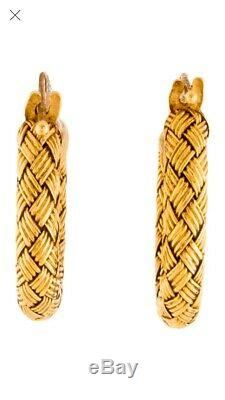 Roberto Coin Italy 18K Yellow gold woven huggie hoop earrings