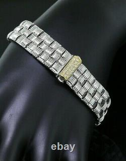 Roberto Coin Italy 18K YellowithWhite Gold Diamond Appassionata 3-Row Bracelet