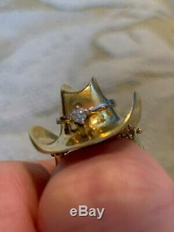 Roberto Coin Italy 18k Solid Gold COWBOY HAT RING with Diamond, Western Rodeo