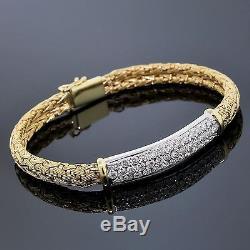 Roberto Coin Jewelry 18K Yellow & White Gold Woven Silk & Diamond Bracelet