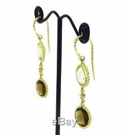 Roberto Coin Lemon & smokey quartz diamond earrings in 18k yelllow gold