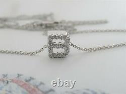 Roberto Coin Letter B Tiny Treasure 18k White Gold Diamond Initial Necklace
