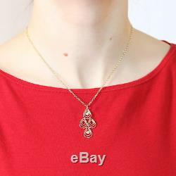 Roberto Coin Mauresque Teardrop Pendant Necklace 18k Yellow Gold Diamonds Ruby