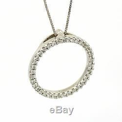 Roberto Coin Medium Diamond Circle of Life Pendant 18k White Gold (0.43 ct tw)