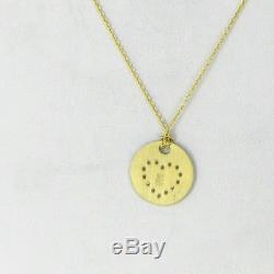 Roberto Coin Necklace Diamond Heart Disk 0.04cts 18k Yellow Gold New $620