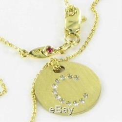 Roberto Coin Necklace Initial C Disk 0.04cts Diamonds 18k Yellow Gold New $620