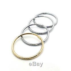 Roberto Coin New 18 Kt Y Gold And. 925 Bangles Set 4.5 MM Rc367122asba03