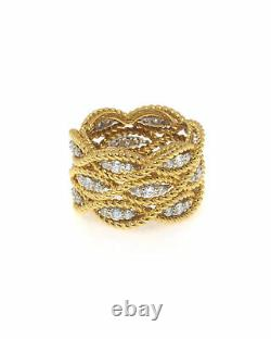 Roberto Coin New Barocco 18k Yellow Gold Diamond 0.95ct Ring Sz6.5 7771074AJ65X