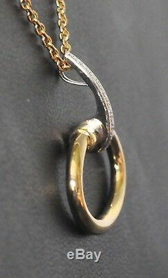 Roberto Coin Oval Pendant Necklace 18K Yellow Gold with Diamonds $1600 New Sale