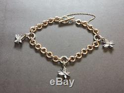 Roberto Coin Pave Diamond Butterfly Charm Rose Gold Link Bracelet