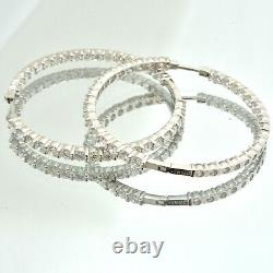 Roberto Coin Perfect Hoop Inside Out Diamond Earring in 18k White Gold