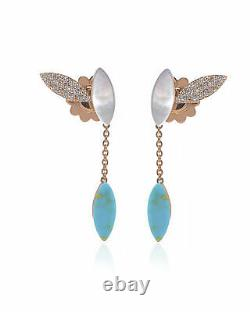 Roberto Coin Petal 18k Gold Diamond 0.28ct Mother Of Pearl Earrings 8882548AHERB