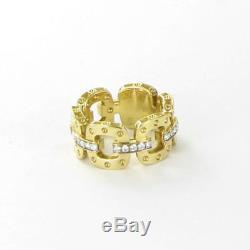 Roberto Coin Pois Moi Diamond Link Band Ring 10mm 18K Gold Sz 6.5 New $3000