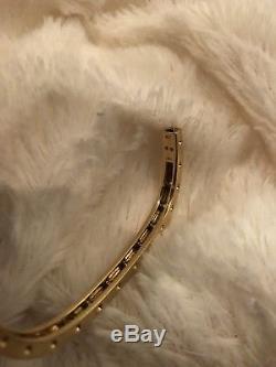 Roberto Coin Pois Moi Diamond Single-Row Bangle Bracelet 18K Gold $4300