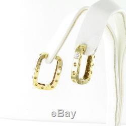 Roberto Coin Pois Moi Earrings 18K Yellow Gold Medium Square Diamond New $3900
