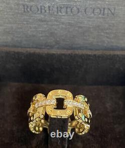 Roberto Coin Pois Moi Luna Diamond 18k Yellow Gold 0.35ct Ring Sz 7.75 NWT $3180