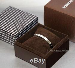 Roberto Coin Pois Moi Luna Thin Bangle 18k White Gold Diamonds 8882504AWBAX