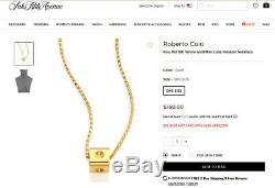 Roberto Coin Pois Moi Ruby Signed Solid 18k Yellow Gold Cube Pendant Necklace