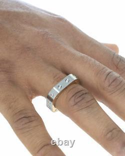 Roberto Coin Pois Moi Stainless Steel & 18k Rose Gold Ring Sz 10.75 7771524ASH11