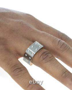 Roberto Coin Pois Moi Stainless Steel & 18k Rose Gold Ring Sz 10 7771525ASH03R