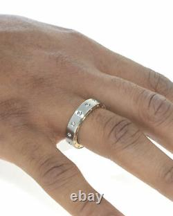 Roberto Coin Pois Moi Stainless Steel & 18k Rose Gold Ring Sz 10 7771526ASH105R