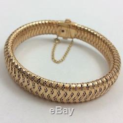 Roberto Coin Primavera 18k Rose Gold Diamond Flexible Woven Bangle Bracelet