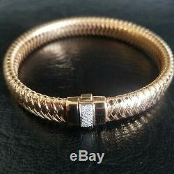 Roberto Coin Primavera 18k Rose Gold Diamond Flexible Woven Bangle Bracelet Ruby