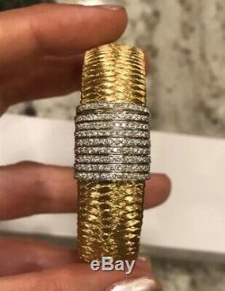 Roberto Coin Primavera Diamond 18k Yellow Gold Weave Mesh Bracelet 31gr 15mm XL