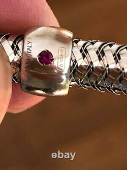 Roberto Coin Primavera Stretch 18k White Gold Bracelet with signature ruby inside