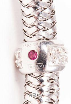 Roberto Coin Primavera Stretch 18k White Gold Diamond Bracelet