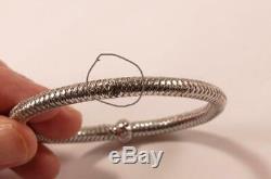 Roberto Coin Primavera Woven 18k White Gold Diamond Flexible Bangle Bracelet