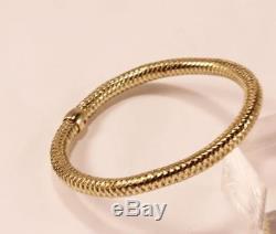 Roberto Coin Primavera Woven 18k Yellow Gold Flexible Bangle Bracelet