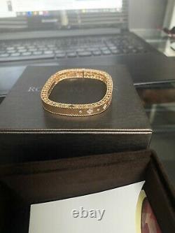 Roberto Coin Princess 18k Rose Gold Flower Diamond Bangle Bracelet 1/2ctw 6.5