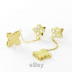 Roberto Coin Princess Earrings Flower Diamond Drop 18k Yellow Gold New $2200