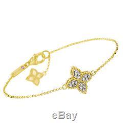 Roberto Coin Princess Flower Diamond 0.17cts Bracelet 18k Yellow Gold New $1750