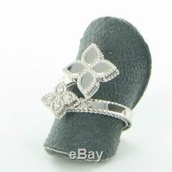 Roberto Coin Princess Flower Diamond Ring 18k White Gold New 7771384AW65X New
