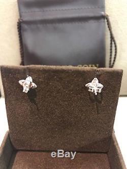 Roberto Coin Princess Flower Med Diamond Stud Earrings 18k White Gold New $2700