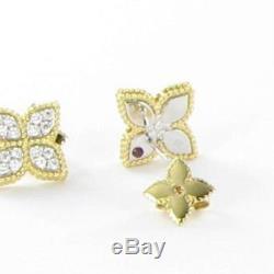 Roberto Coin Princess Flower Med Diamond Stud Earrings 18k Yellow Gold New $2970